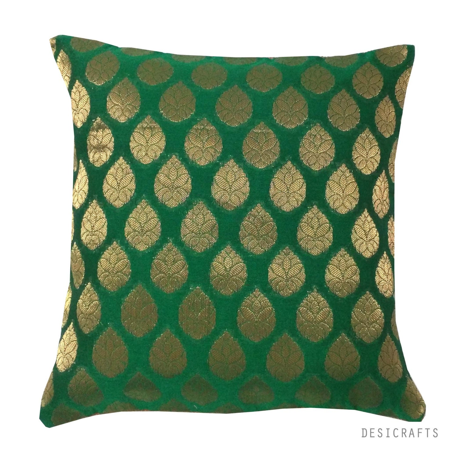 Green and Gold Silk Pillow Cover 12x12 Inch Square Pillow