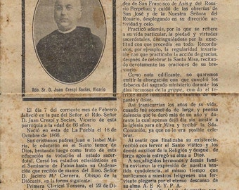 Memorial card and Biography of a priest. 1932 - Ephemera - M64