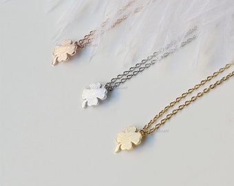 Tiny gold Four Leaf Clover Necklace - Sweet and Simple Shamrock for Good Luck, wedding, bridesmaid, birthday gifts, gift ideas