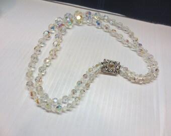 Vintage 2 Strand Crystal Glass Necklace Aurora Borealis Choker