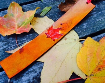 Leather Bookmark - Autumn Leaf / Fall Leaves