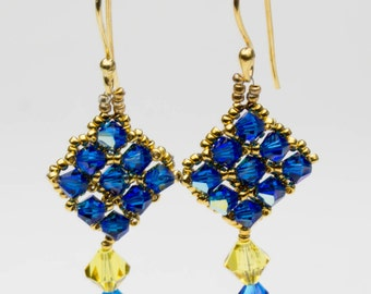 24 Carat Gold Plated seed bead earrings with Swarovski Crystals