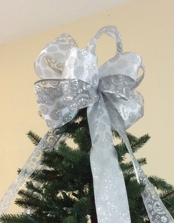christmas tree topper bow white silver by custombowsbyjami. Black Bedroom Furniture Sets. Home Design Ideas