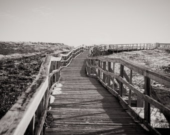 plum island boardwalk, beach photography, long walk, black & white photography