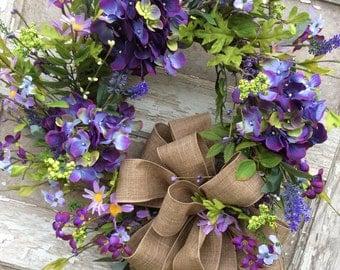 Hydrangea Wreath, Spring Wreath, Double Door Wreath, Mothers Day Wreath, Easter wreath, Front Door Wreath, Purple Hydrangea ,Everyday Wreath