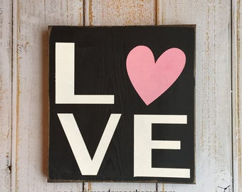LOVE  - Valentine's Day Hand Painted Sign