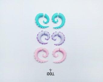 Fake Gauge Earrings - Pastel colors / Faux gauge/ Gauge earrings/ spiral gauge/ fake piercing