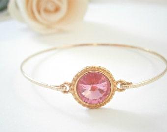 Pink Bangle Bracelet - Swarovski Crystal Bangles -  Rose Pink Bracelets - Wedding Jewellery - Bridal Jewelry - Bridesmaid Gifts