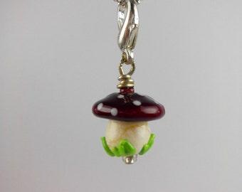 Lampwork charm pendant, mushroom charm, lampwork glass mushroom charm pendant, ooak lampwork pendant