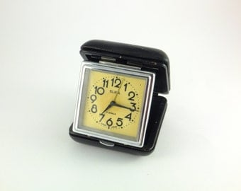 WORKING !!! Vintage Black Leather Travel Alarm Clock Slava Soviet Union Era, Clock in Case, CCCP, Father's day Gift