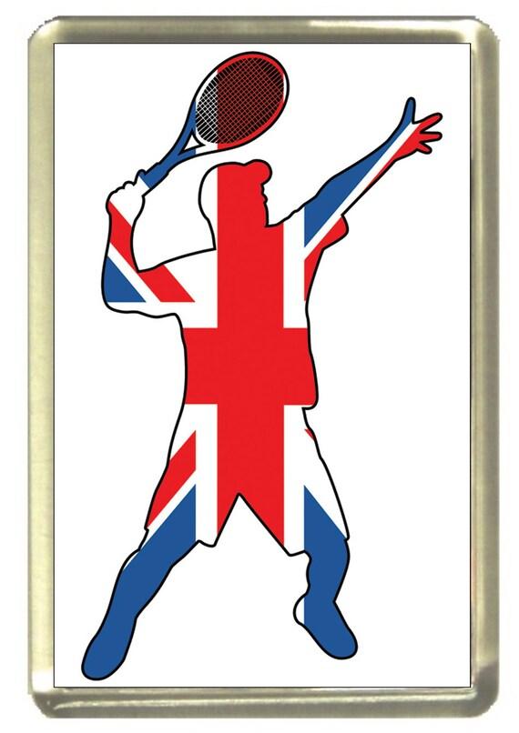 Union Jack Flag Tennis Fridge Magnet 7cm by 4.5cm,
