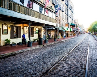 East River Street in Savannah, Georgia - Urban Architecture Photography Fine Art Print or Wrapped Canvas
