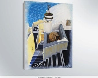 Santorini oil painting Santorini painting Santorini island Greek island Stretched canvas Santorini wall decor Greek art Greece Santorini art