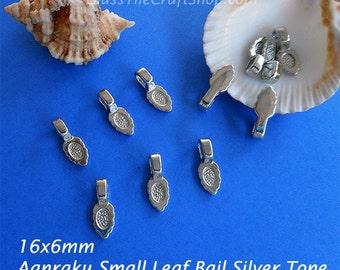 50 Aanraku Leaf Bails - 16x6mm Silver Tone Glue on Small Bails for Pendants (SAANRAKU)