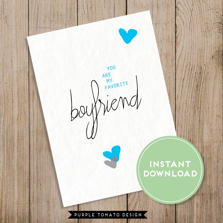 Printable Favorite Boyfriend Card With Envelope By JMunzDesign