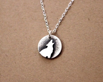 Handmade Silver Wolf Necklace - Wolf Jewelry - Metalwork - Sterling Silver Necklace