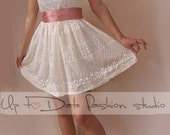Ivory romantic bridesmaid / evening / lace cotton dress