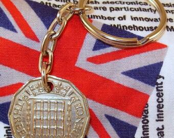 1962 3d 12 Sided Threepence English Coin Keyring Key Chain Fob Queen Elizabeth II