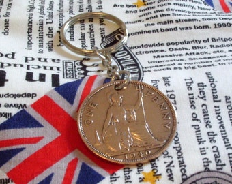 1940 1d 1d Old Penny English Coin Keyring Key Chain Fob King George VI