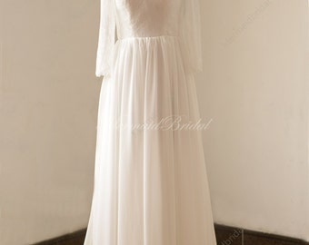 Open back/ Backless chiffon lace wedding dress with straight neckline and long sleeves