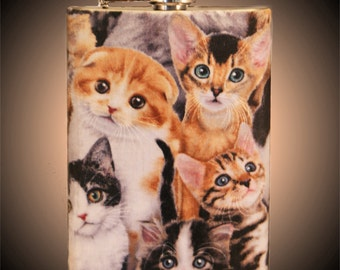 Sassikat Flask // Serious Cats // Hip Flask // Grumpy Cat // Cat Flask // Stainless Steel // 6 oz or  8 oz. Flask