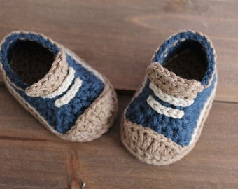 """Cute Crochet Pattern for Boys Booties """"Crete"""" Sneaker, Modern Pattern, low top sneaker, blue crochet baby shoes PATTERN ONLY"""