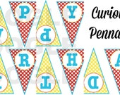 Printable Curious Monkey Pennant Banner