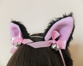 Black Pink Bow Silver Bells Furry Cosplay Cat Neko Ears Ribbons Headband Hairband Hair Clips Kawaii Halloween Costume Festival Fursuit Cute