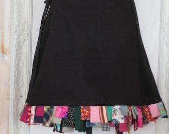 L - 4X Plus Size Black Wrap on Skirt Cotton with Colorful Hem