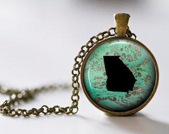 Georgia Pendant Necklace - Georgia Jewelry - State Pendant - State Necklace - State Jewelry