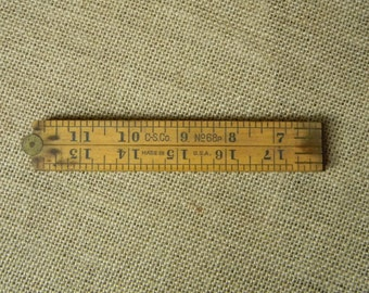 Beautiful Vintage Brass and Wood Folding Ruler - C S Co. No. 68P