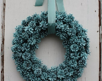 Pinecone Wreath/ Robins Egg Blue/ Spring Wreath/ Christmas Home Decor/ Rustic Farmhouse/ Holiday Door/ Pine cones Wreath/ Winter Wreath