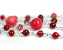 Red Howlite Rosary, Red Rosaries, Red Rosary, Handmade Rosary, wire-wrapped Rosaries on Etsy