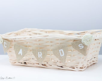 Cards Holder Wedding Decorations Ivory Shabby Wedding Basket Hessian Cards Banner Reception Decor Wedding Gifts