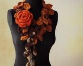 Crochet Lariat Scarf Orange Brown shades Orange Rose Brooch