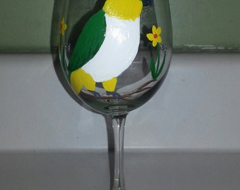 Black Headed Caique wine glass hand painted