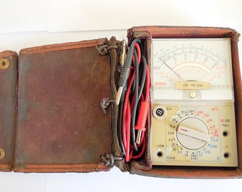 Vintage Volt Ohm Multimeter Milliammeter Manual Meter Test Equipment With Leads, Case