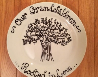 Family Tree Plate: Personalized Grandparent Plate, Family Name Plate; Hand Painted Family Plate; Mother's Day Plate