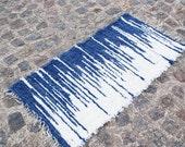 SALE Handwoven Rag Rug ,Wool Carpet,  blue, white color, blue rug, white rug 140 cm x 70 cm N(3)