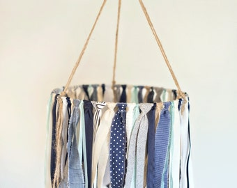 Baby Ribbon & fabric Mobile, baby mobiles hanging, baby boy mobile, crib mobile, nursery