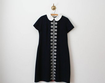 vintage 70s navy blue collared dress