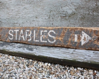 "Stables Equestrian Sign Horse Decor Horse Sign Rustic Sign Distressed Wood Sign 36"" Large Wood Sign"