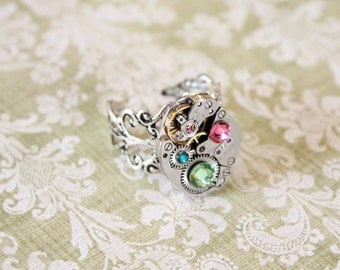 steampunk Mothers birthstone ring - steampunk ring custom made mothers necklace -  grandmothers necklace - birthstone ring