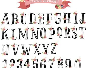 Floral Alphabet Floral Monogram Scrapbook Alphabet Digital Alphabet ABC Flowers Clipart