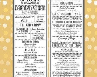 Printable Digital Wedding Program - Art Deco and Vintage Fonts