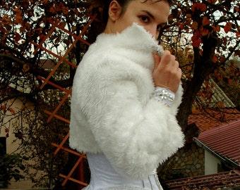 Bridal Faux Fur Bolero Accessories Bridal Jacket Bride Wedding Bolero High Collar Bridal Shrug