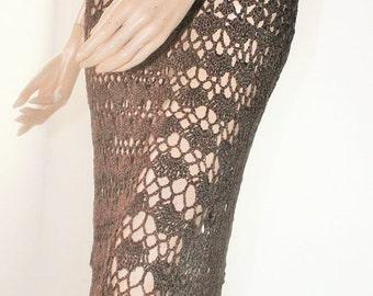 Women Hand Crochet Dress Cotton Silk Brown Chocolate