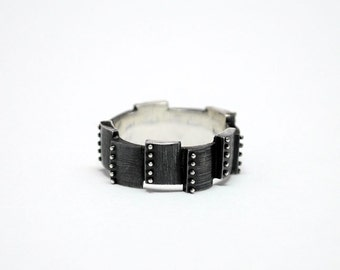 "SALE -30% Sterling Silver Industrial Contemporary Ring ""Volubilis"" 