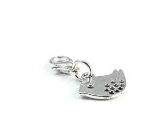 Bird Zipper Pull Purse Charm Silver Clip On Charms