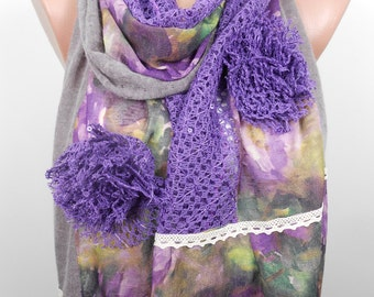 Purple Scarf Shawl Mother's Day Gift Floral Scarf Christmas Valentines Day Gift Idea For Her For Mom Women Spring Easter Fashion Accessories